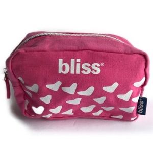 Bliss Makeup Cosmetics Bag Pink White Rectangular